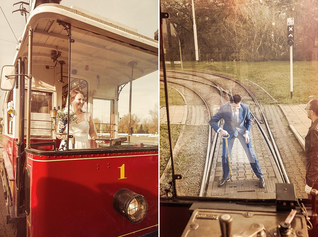 Zdjęcia ślubne - niebanalna sesja ślubna w zabytkowym tramwaju. Artystyczna fotografia ślubna Wrocław, Jelenia Góra, Dolny Śląsk i cała Polska. Zapraszam!