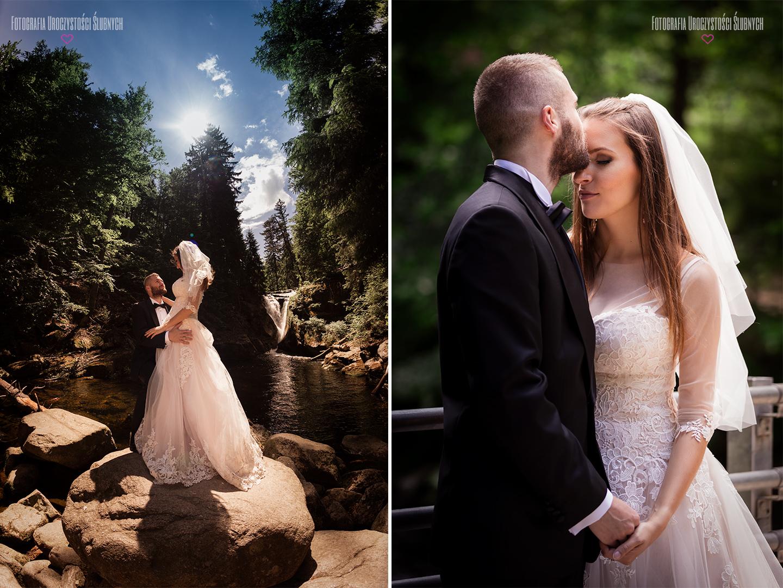 Nowoczesna i artystyczna fotografia ślubna - Klaudia Cieplińska - zdjęcia ślubne w Parku w Bukowcu. Piękne plenery ślubne w górach.