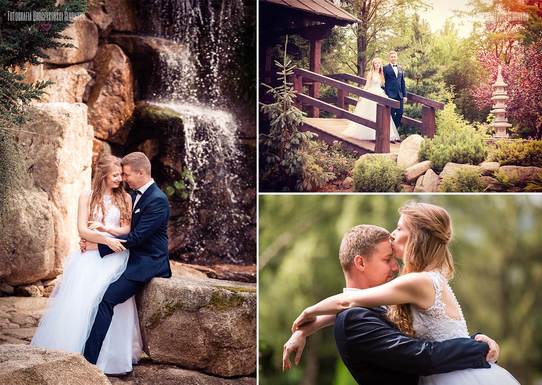 Plener ślubny w ogrodzie japońskim w Przesiece koło Jeleniej Góry - sesje plenerowe w Karkonoszach, zdjęcia w górach, sesje narzeczeńskie