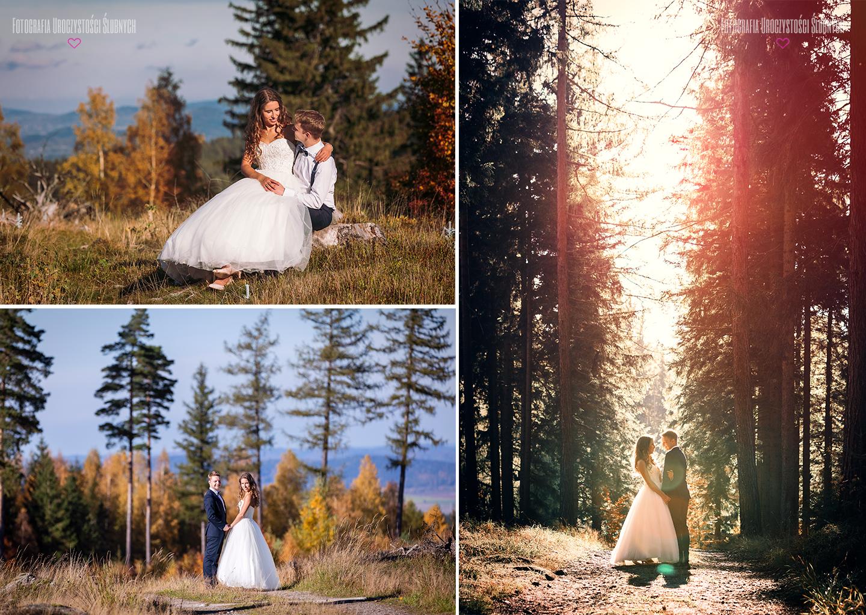 Plener ślubny w lesie w górach - sesje plenerowe w Karkonoszach, zdjęcia w górach, sesje narzeczeńskie