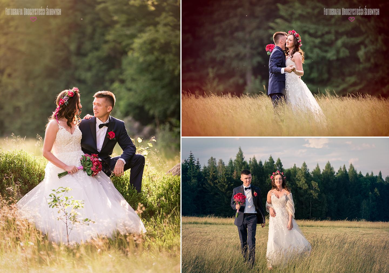 Plener ślubny w lesie w górach - sesje plenerowe w Karkonoszach, zdjęcia w górach, sesje narzeczeńskie, Jelenia Góra, Karpacz...