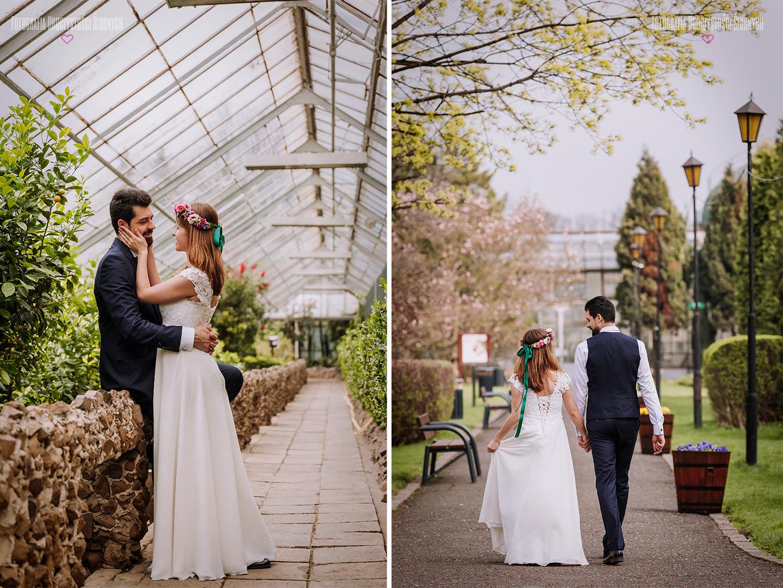Plener ślubny w Palmiarni w Wałbrzychu - koło Zamku Książ, klimatyczna sesja ślubna w szklarni