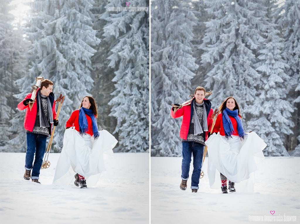 Śnieżna sesja ślubna plenerowa w Karkonoszach